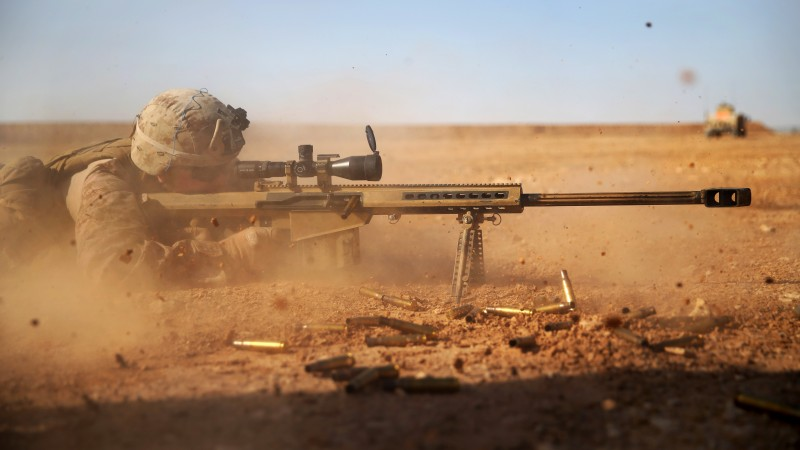 Barrett, sniper, soldier, sniper rifle, M82, М107, Light fifty, U.S. Army, M82A1, scope, desert (horizontal)