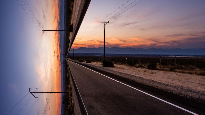 road, sky, sunset, artwork, 4k (horizontal)