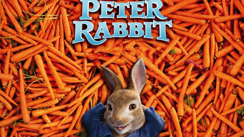 Peter Rabbit, carrot, 4k (horizontal)