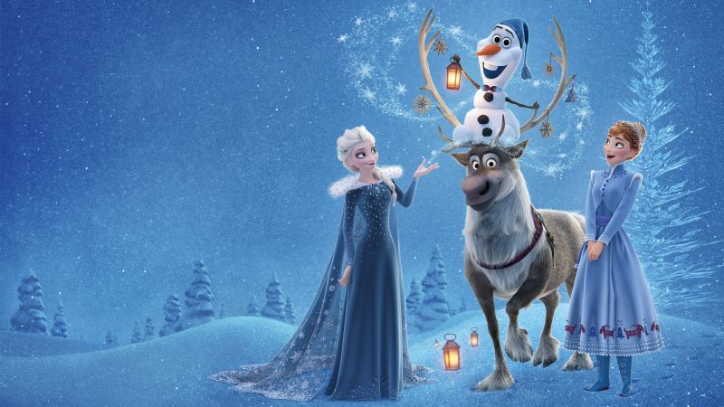 Olaf's Frozen Adventure, Elsa, Anna, winter, deer, snow, 4k (horizontal)