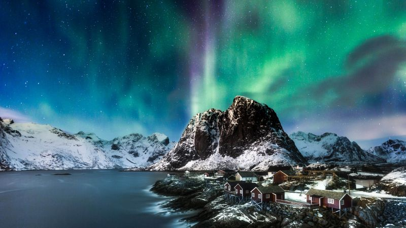 Norway, Lofoten islands, Europe, Mountains, sea, night, northern lights, 5k (horizontal)