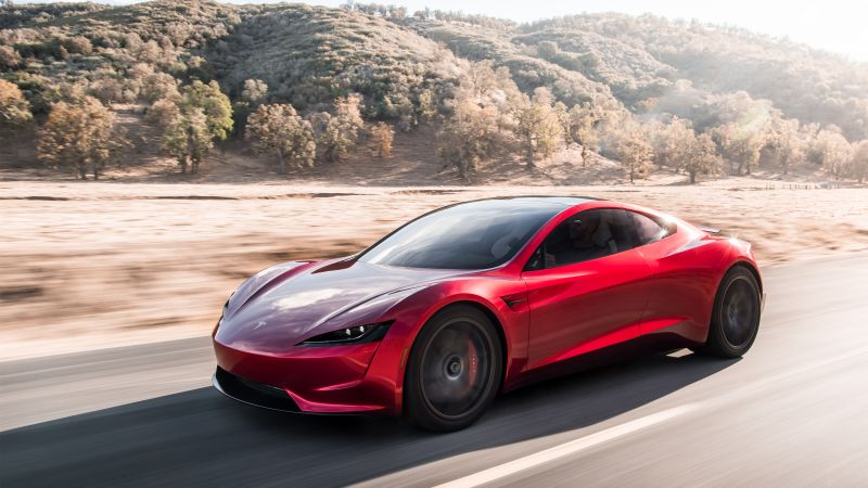 Tesla Roadster, electric car, 4k (horizontal)
