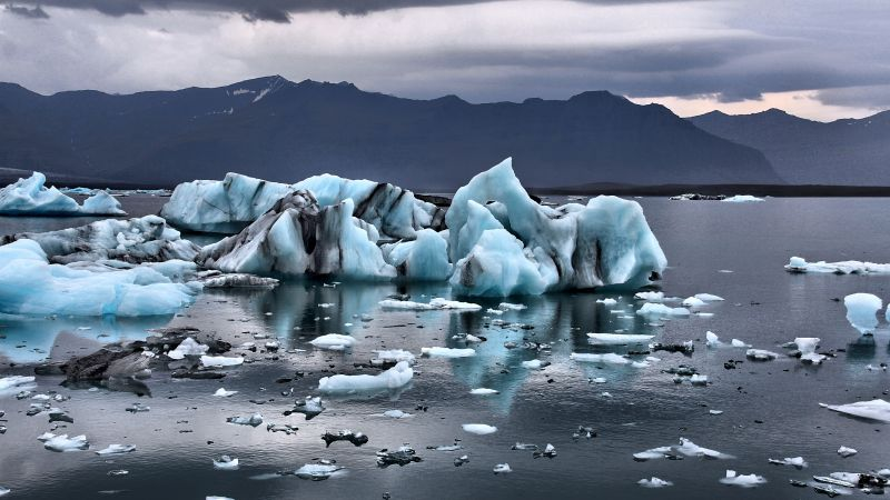 Joekulsarlon, lagoon, ice, ocean, mountains, 5k (horizontal)