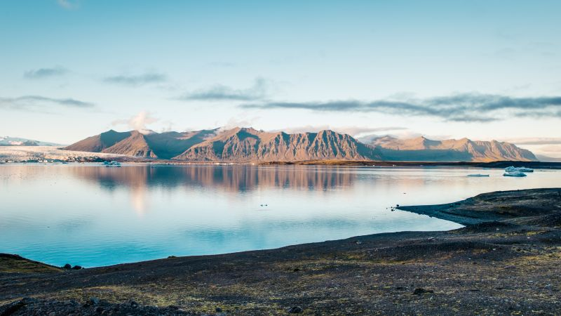 Joekulsarlon, lagoon, ocean, mountains, coast, 5k (horizontal)