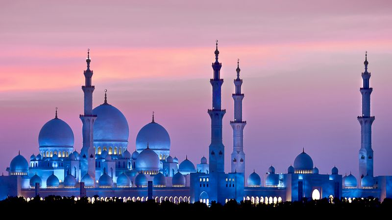 Sheikh Zayed Mosque, Abu Dhabi, sky, sunset, 4k (horizontal)