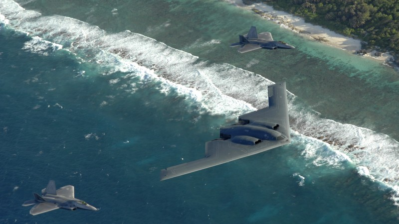 F-22, fighter, Raptor, Lockheed, B-2, Spirit, stealth bomber, sea (horizontal)