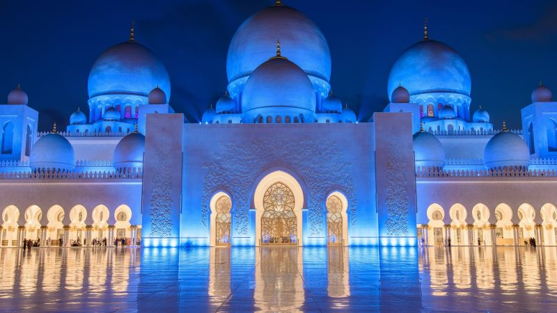 Sheikh Zayed Mosque, Abu Dhabi, night, 8k (horizontal)