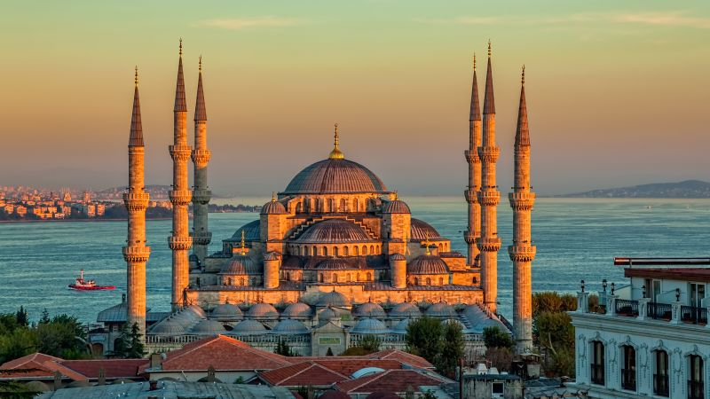Sultan Ahmed Mosque, Turkey, Istanbul, sunrise, 4k (horizontal)