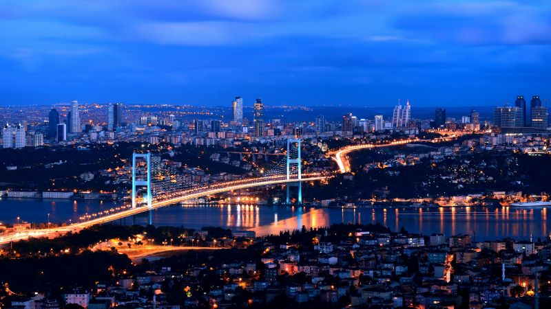 Turkey, Istanbul, night, 4k (horizontal)