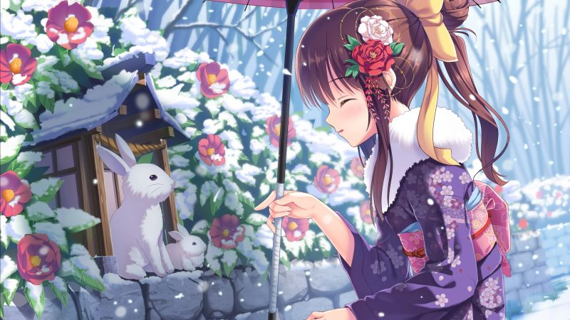 anime, girl, beauty, winter, rabbits, snow, 4k (horizontal)