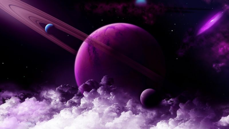 Saturn, planet, purple, 4k (horizontal)