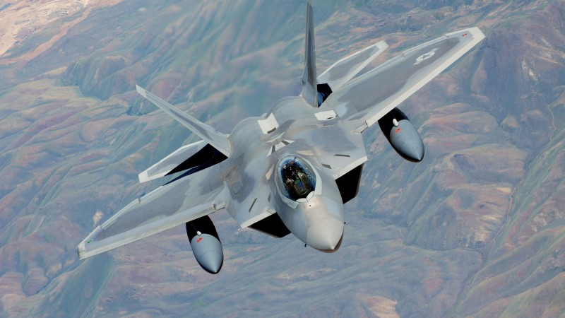 F-22, Raptor, Lockheed, Martin, stealth, air superiority fighter, U.S. Air Force, mountain (horizontal)