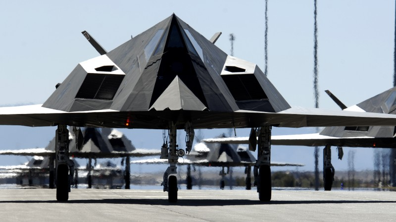Nighthawk, Lockheed, F-117, stealth, attack aircraft, U.S. Air Force, stealth technology, runway (horizontal)