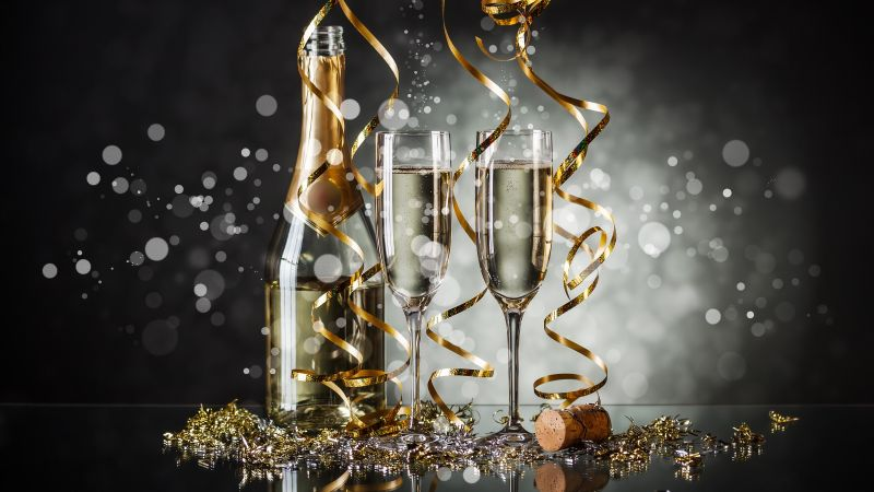 Christmas, New Year, champagne, 4k (horizontal)