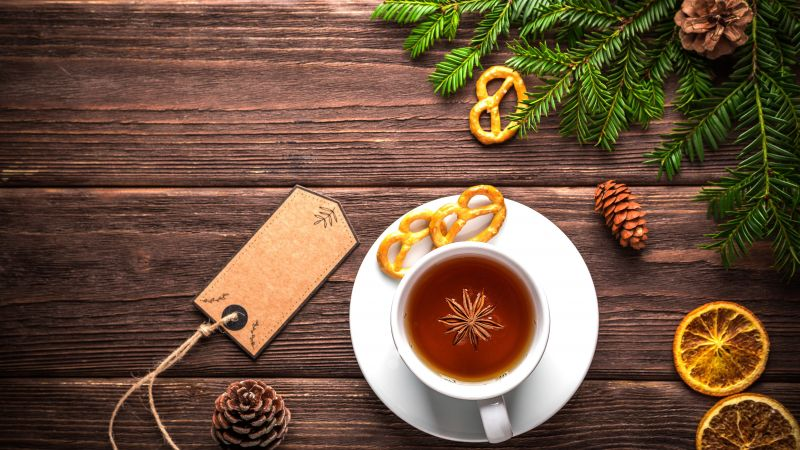 Christmas, New Year, table, fir-tree, tea, 5k (horizontal)