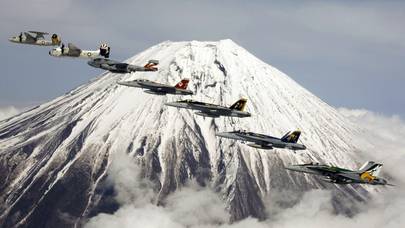 U.S. Navy, aircraft, carrier, jet, fighter, mountain, Fuji, Japan (horizontal)