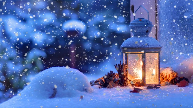 snow, lamp, winter, 4k (horizontal)