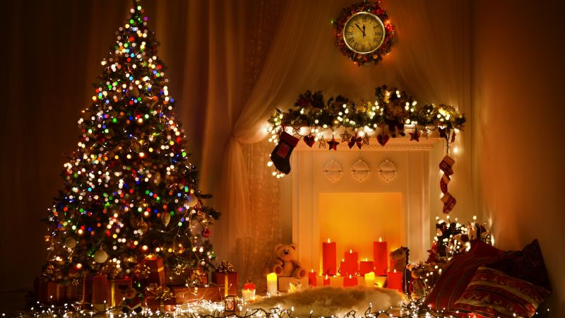 Christmas, New Year, toys, fir-tree, fireplace, decorations, 4k (horizontal)