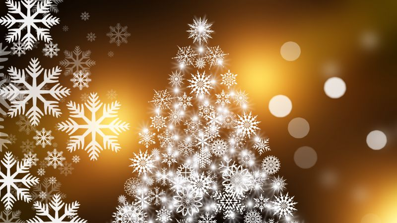 Christmas, New Year, fir-tree, snowflakes, 4k (horizontal)