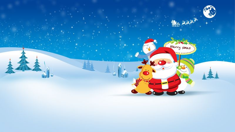 Christmas, New Year, Santa, deer, snowman, penguin, winter, HD (horizontal)