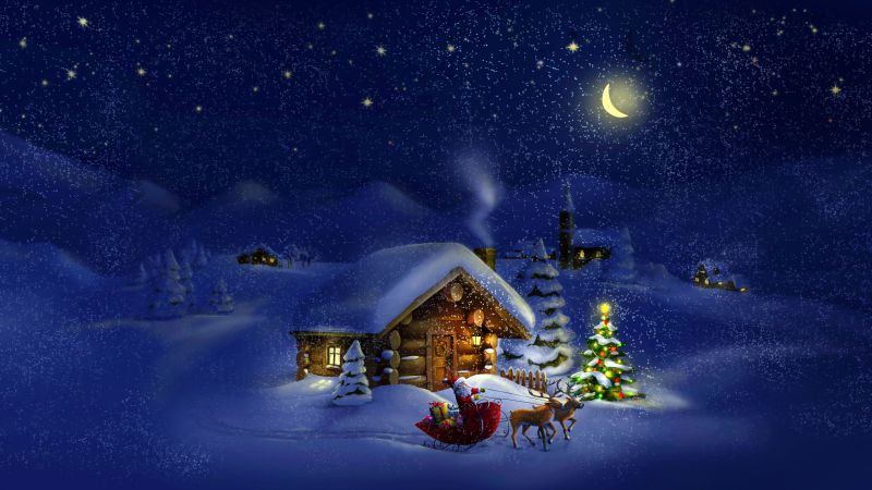 Christmas, New Year, Santa, deer, moon, night, winter, house, snow, 4k (horizontal)