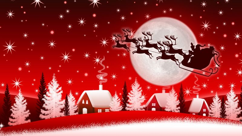 Christmas, New Year, Santa, deer, moon, winter, 8k (horizontal)