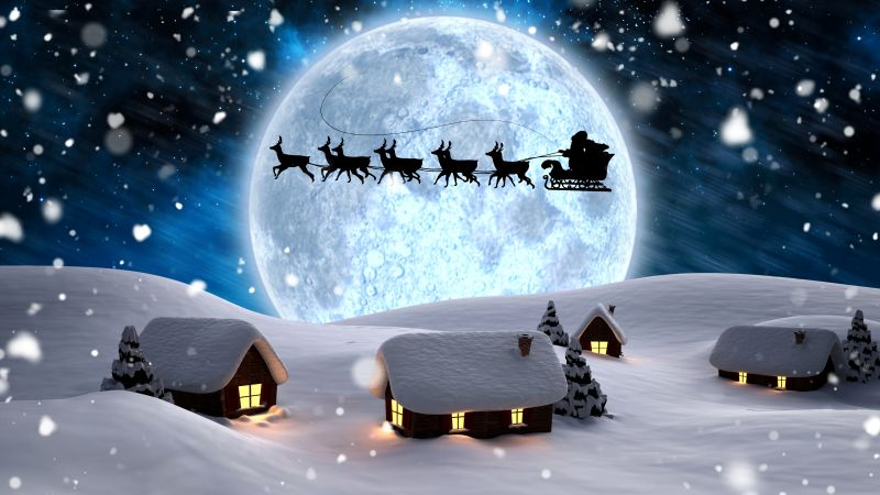 Christmas, New Year, Santa, deer, moon, night, winter, snow, 5k (horizontal)