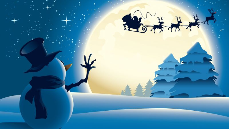 Christmas, New Year, Santa, deer, snowman, moon, winter, 4k (horizontal)