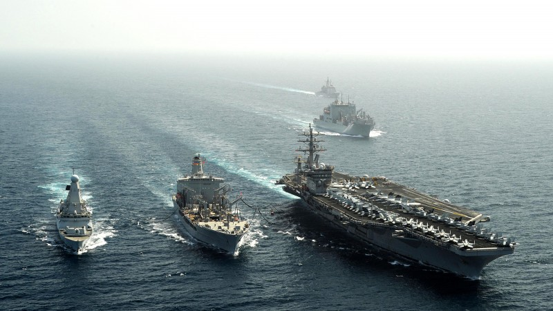USS Dwight Eisenhower, aircraft carrier, U.S. Navy, Nimitz, CVN-69, convoy, sea (horizontal)