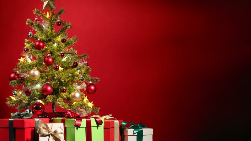 Christmas, New Year, gifts, fir-tree, red, 5k (horizontal)