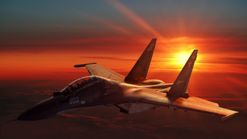 Su-30, Sukhoi, Flanker-C, fighter, aircraft, Russian Air Force, Russia, sunset (horizontal)