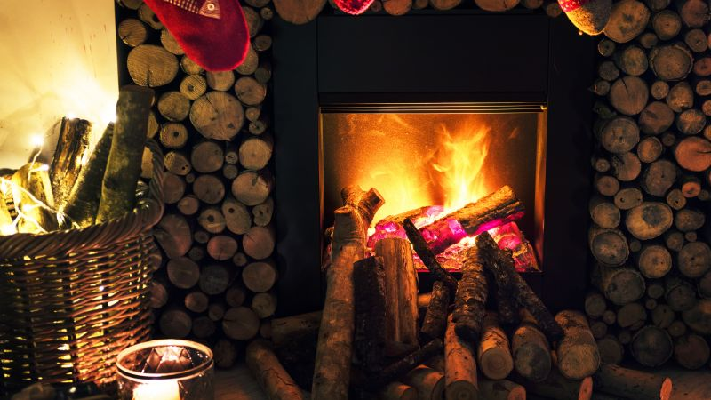 Christmas, New Year, fireplace, decorations, 5k (horizontal)
