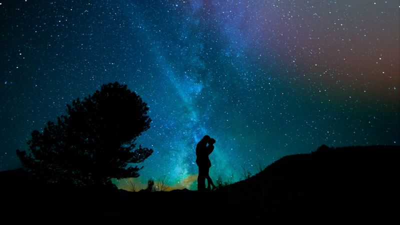 love image, kiss, night, sky, stars, 4k (horizontal)