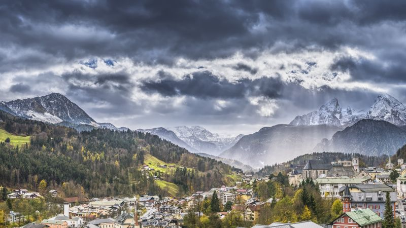 Alps, Switzerland, Europe, mountains, trees, sky, clouds, 8k (horizontal)
