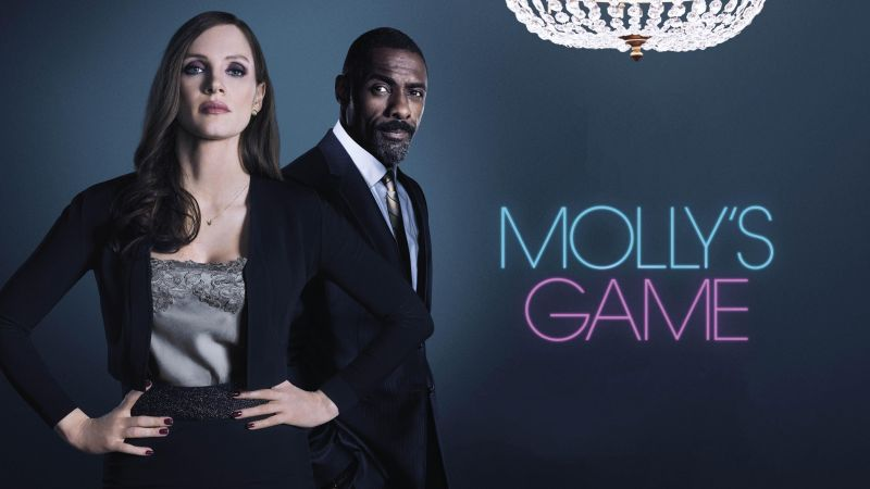 Molly's Game, Jessica Chastain, Idris Elba, 5k (horizontal)