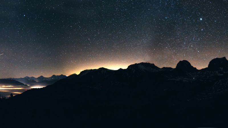 night, sky, mountains, 8k (horizontal)