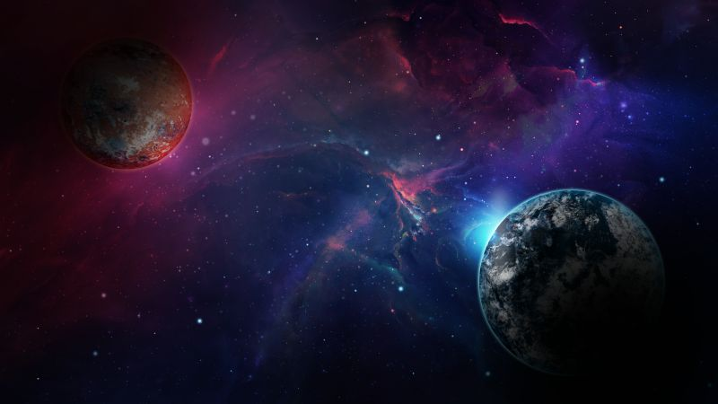 space, galaxy, planet, 4k (horizontal)