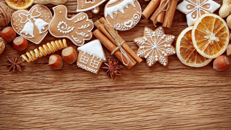 Christmas, New Year, cake, cinnamon, 4k (horizontal)