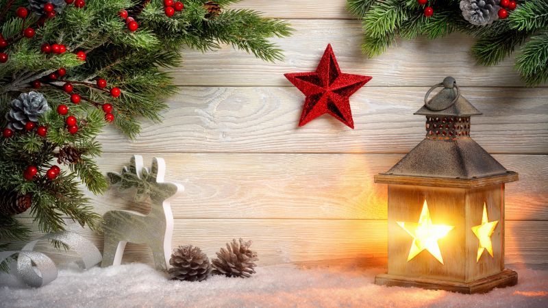 Christmas, New Year, toys, fir-tree, lamp, decorations, 8k (horizontal)