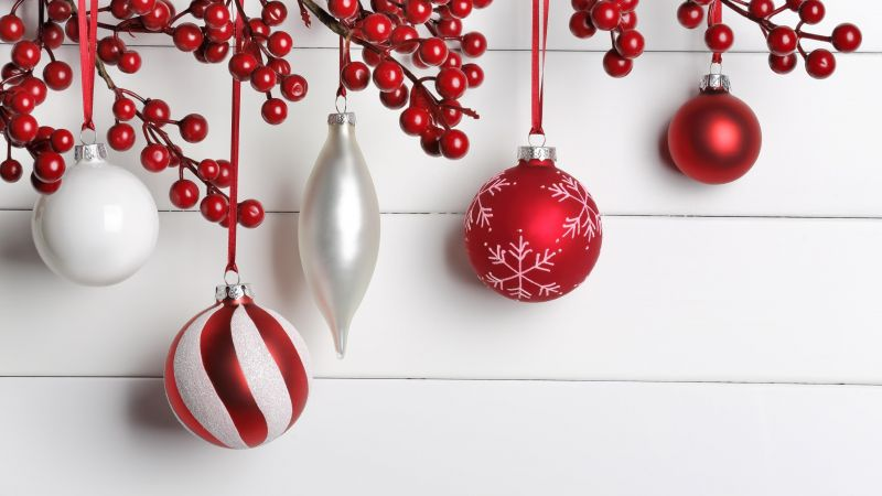 Christmas, New Year, balls, decorations, 5k (horizontal)