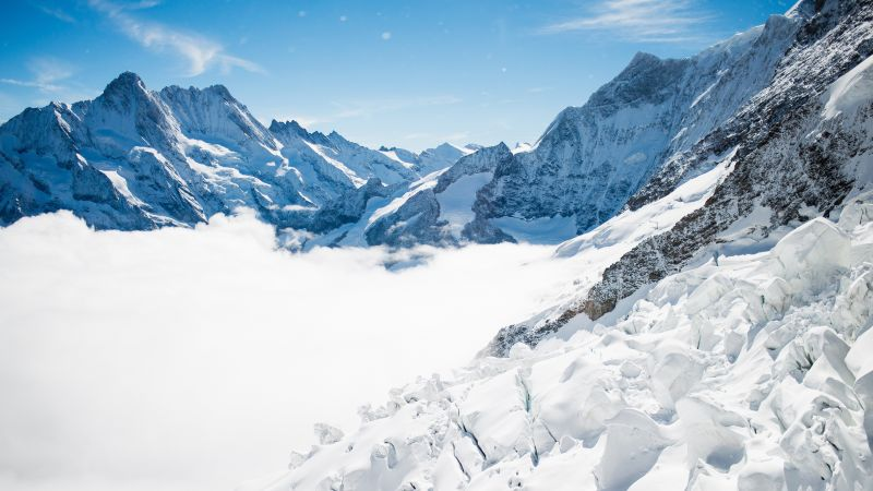 Bernese Alps, mountain, Switzerland, snow, winter, sky, clouds, 4k (horizontal)