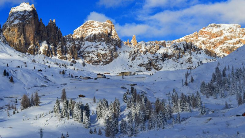 Dolomites, Alps, mountains, snow, winter, trees, 5k (horizontal)