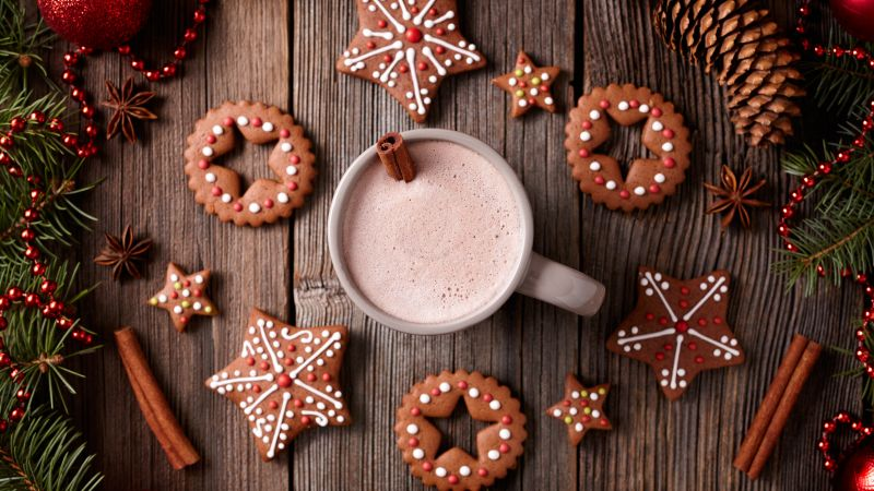 Christmas, New Year, cookies, cocoa, cinnamon, 5k (horizontal)