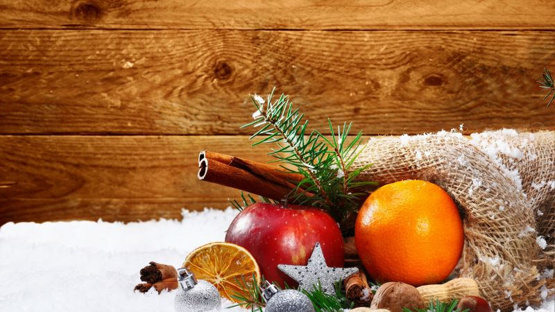 Christmas, New Year, snow, orange, apple, cinnamon, 4k (horizontal)