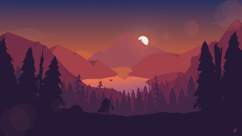 mountain, sun, forest 4k (horizontal)