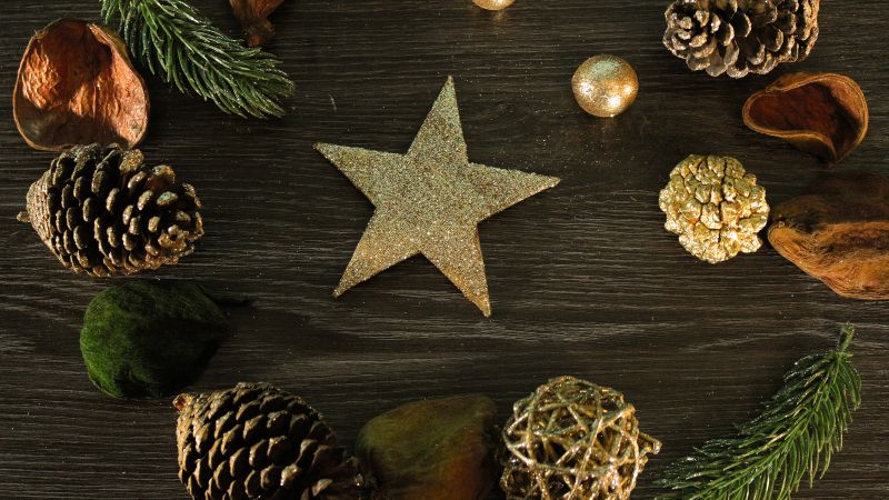Christmas, New Year, decorations, star, 5k (horizontal)
