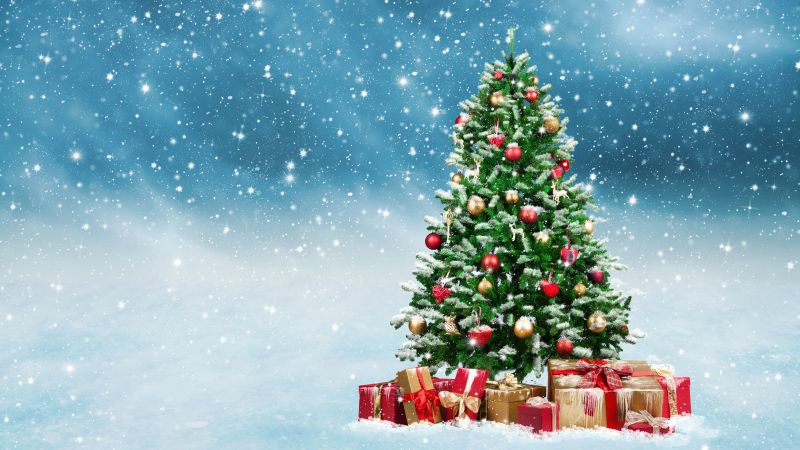 Christmas, New Year, gifts, fir-tree, snow, 5k (horizontal)