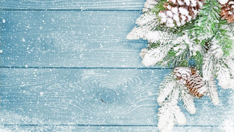Christmas, New Year, fir-tree, snow, 5k (horizontal)