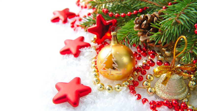 Christmas, New Year, decoration, fir-tree, 8k (horizontal)