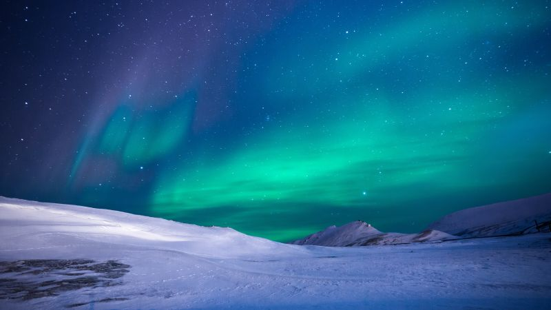 northern lights, sky, winter, mountains, 5k (horizontal)